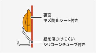 裏面(キズ防止シート付き)壁を傷つけにくいシリコーンチューブ付き